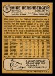 1968 Topps #18  Mike Hershberger  Back Thumbnail