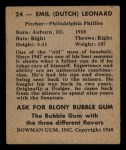 1948 Bowman #24   Dutch Leonard Back Thumbnail