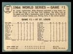 1965 Topps #132   -  Mike Shannon / Whitey Ford / Elston Howard 1964 World Series - Game #1 - Cards Take Opener Back Thumbnail