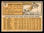 1963 Topps #90  Gordy Coleman  Back Thumbnail