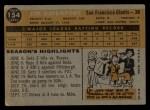 1960 Topps #154  Jim Davenport  Back Thumbnail