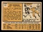 1963 Topps #121 ERR  Jim Hannan Back Thumbnail
