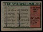 1975 Topps Mini #72   -  Jack McKeon Royals Team Checklist Back Thumbnail