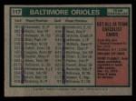 1975 Topps Mini #117   -  Earl Weaver Orioles Team Checklist Back Thumbnail