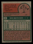 1975 Topps Mini #31  Dave Rader  Back Thumbnail