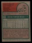 1975 Topps Mini #290  Jon Matlack  Back Thumbnail