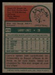1975 Topps Mini #416   Larry Lintz Back Thumbnail