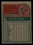 1975 Topps Mini #143  Cliff Johnson  Back Thumbnail