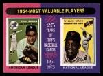 1975 Topps Mini #192  1954 MVPs  -  Yogi Berra / Willie Mays Front Thumbnail