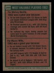 1975 Topps Mini #200  1962 MVPs  -  Mickey Mantle / Maury Wills Back Thumbnail