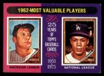 1975 Topps Mini #200  1962 MVPs  -  Mickey Mantle / Maury Wills Front Thumbnail