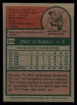 1975 Topps #318  Ernie McAnally  Back Thumbnail
