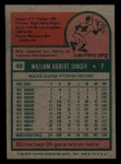 1975 Topps Mini #40   Bill Singer Back Thumbnail