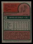 1975 Topps Mini #64   Dave Chalk Back Thumbnail
