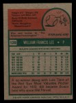 1975 Topps Mini #128   Bill Lee Back Thumbnail