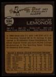 1973 Topps #534  Dave Lemonds  Back Thumbnail