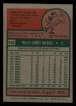 1975 Topps Mini #130   Phil Niekro Back Thumbnail