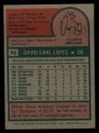 1975 Topps #93   Davey Lopes Back Thumbnail