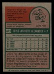 1975 Topps Mini #491   Doyle Alexander Back Thumbnail