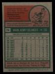 1975 Topps #74   Mark Belanger Back Thumbnail