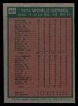 1975 Topps #461  1974 World Series - Game #1  -  Reggie Jackson Back Thumbnail