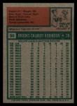 1975 Topps #50   Brooks Robinson Back Thumbnail
