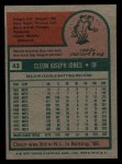 1975 Topps #43   Cleon Jones Back Thumbnail
