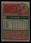 1975 Topps Mini #113  Elliott Maddox  Back Thumbnail