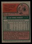 1975 Topps Mini #122   Al Hrabosky Back Thumbnail