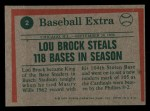 1975 Topps Mini #2  Lou Brock  Back Thumbnail