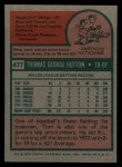 1975 Topps #477  Tom Hutton  Back Thumbnail