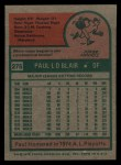 1975 Topps #275   Paul Blair Back Thumbnail