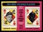 1975 Topps #189  1951 MVPs  -  Yogi Berra / Roy Campanella Front Thumbnail