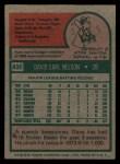 1975 Topps #435   Dave Nelson Back Thumbnail