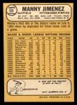 1968 Topps #538   Manny Jimenez Back Thumbnail