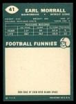 1960 Topps #41   Earl Morrall Back Thumbnail