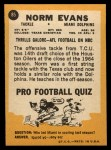 1967 Topps #85  Norm Evans  Back Thumbnail