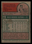 1975 Topps Mini #457   Mario Mendoza Back Thumbnail