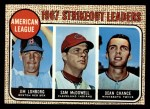 1968 Topps #12  1967 AL Strikeout Leaders  -  Dean Chance / Jim Lonborg / Sam McDowell Front Thumbnail