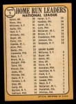 1968 Topps #5   -  Hank Aaron / Willie McCovey / Ron Santo / Jim Wynn NL HR Leaders Back Thumbnail