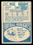 1968 Topps #210  Maxie Baughan  Back Thumbnail