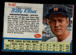1962 Post Cereal #67   Billy Klaus  Front Thumbnail