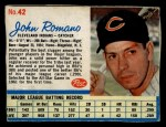 1962 Post Cereal #42   John Romano  Front Thumbnail