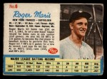 1962 Post Cereal #6 BB Roger Maris   Front Thumbnail