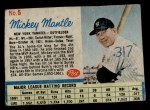 1962 Post Cereal #5 BL Mickey Mantle   Front Thumbnail