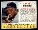1963 Jello #106   Willie Mays Front Thumbnail