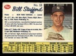 1962 Post Canadian #13   Bill Stafford Front Thumbnail