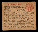 1950 Bowman #220  Leo Durocher  Back Thumbnail