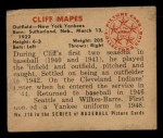 1950 Bowman #218   Cliff Mapes Back Thumbnail