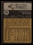 1973 Topps #220   Nolan Ryan Back Thumbnail